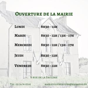 Horaires et coordonnées de la mairie de Villeherviers